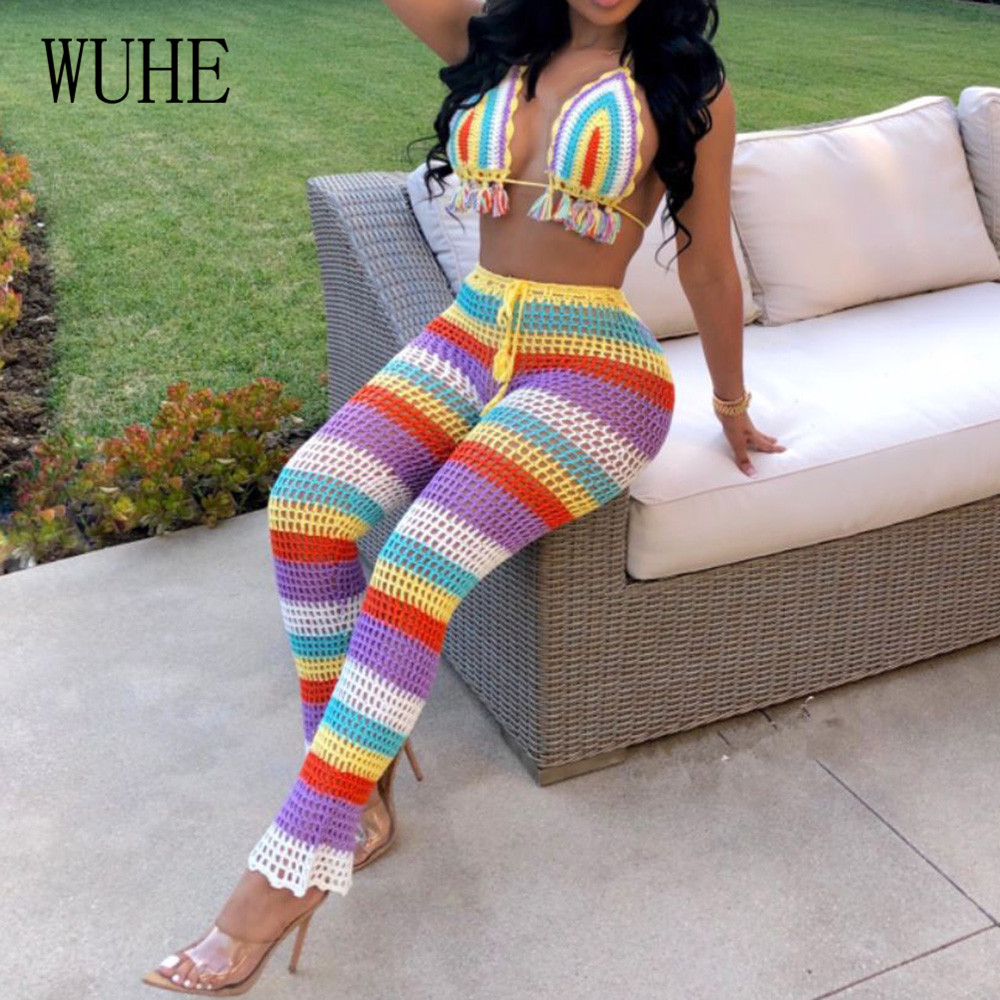 WUHE Summer New Arrival Hollow Out See Through Two Pieces Sets Swimsuits Sexy Open Back Sleeveless Retro Stripe Grid Playsuits in Jumpsuits from Women 39 s Clothing