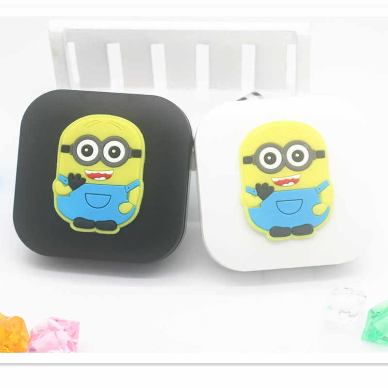 LIUSVENTINA 2018 New Soft Rubber Cartoon Minions Contact Lens Case With Mirror Box Container for Contact Lens Gift for Girls