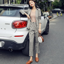Set female 2019 summer new womens plaid suit jacket Korean casual fashion professional nine pants two sets