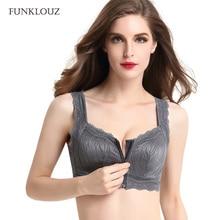 Funklouz Front Zipper Wireless Lace Bra Women Front Closure Push Up Plus Size
