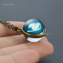 Fairy Tail Necklace Double Side Glass Ball Pendant Guild Logo Anime Jewelry Natsu Cosplay Lover Gift