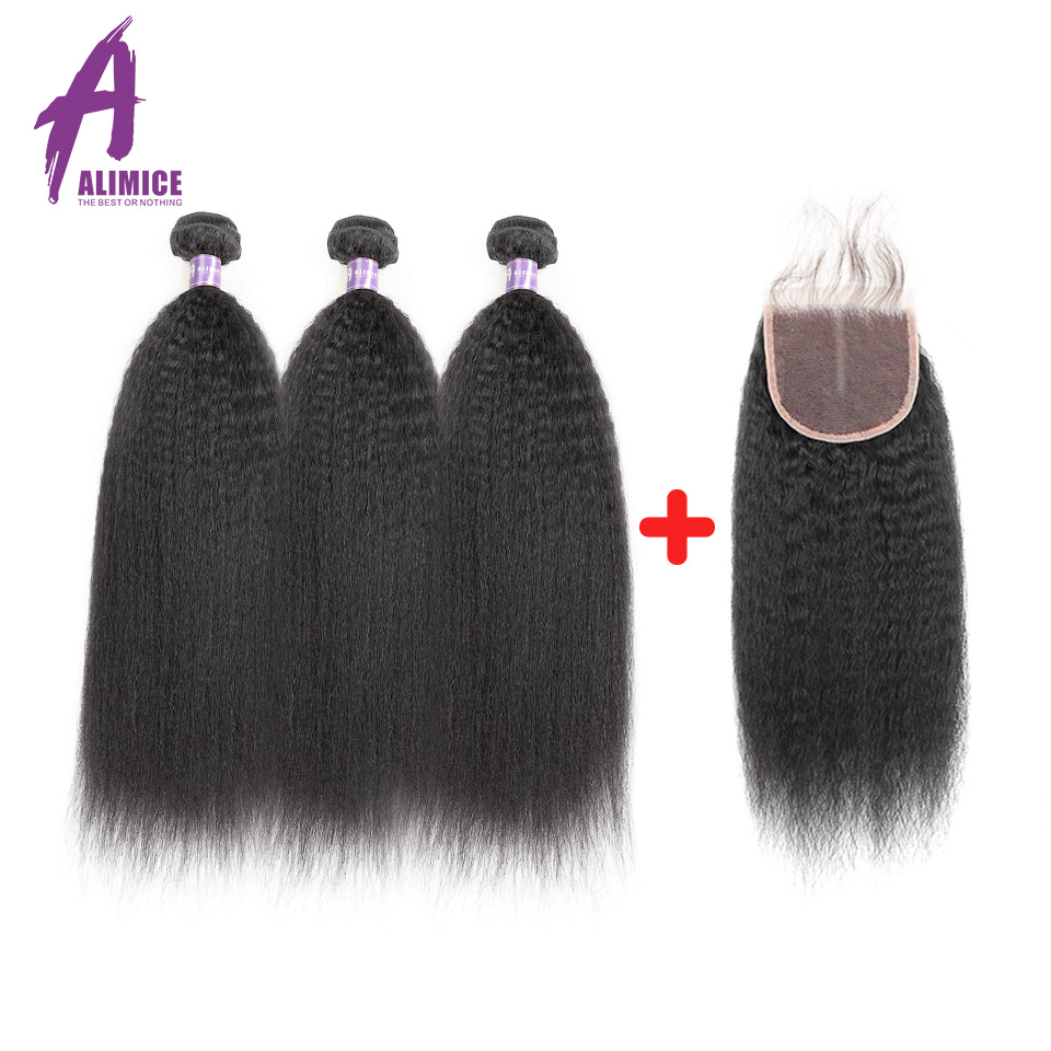 ALIMICE Hair Brazilian Kinky Straight Hair Bundles With Closure Human Hair 3 Bundles Wit ...