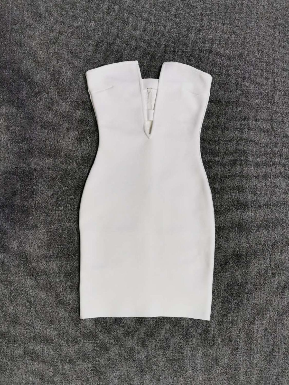 Free Shipping Women Summer Fashion Solid Sexy Key Hole White Bandage Dress 2020 Designer Fashion Evening Party Dress Vestido 4