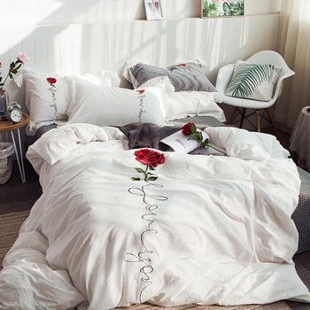 Korean Style Rose Embroidery Technology Pure Cotton Bedding Set Fashion Simple Duvet Cover Bed Sheet Pillowcase/bed Set
