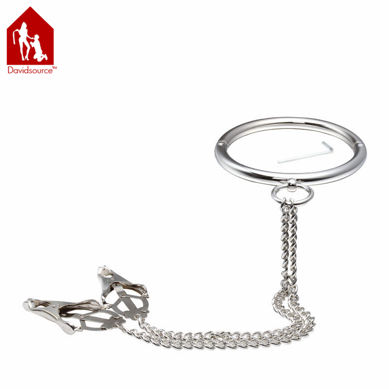 Davidsource Metal Neck Collar + Clover Nipple Clamps With
