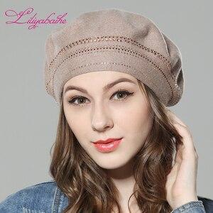 Image 3 - Nuevo gorro de lana de punto para mujer Liliyabaihe, gorros con decoración de diamantes circundantes, sombrero de Color sólido a la moda
