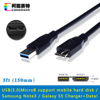 Conenset 5ft USB 3 0 DC PC Power Charger Data SYNC Cord Lead Cable For Samsung