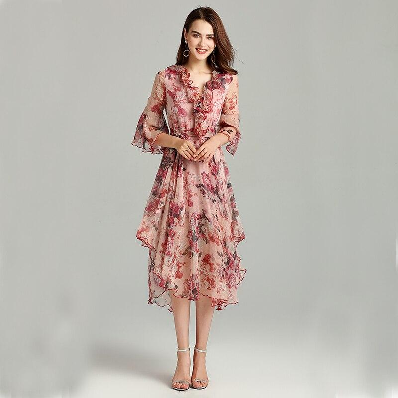 mollet Confortable Vêtements V D'été Sexy Nouvelles Mince Ruches Mode Picture Y As cou Flare Imprimer Robe Mi Ysmile Femmes Manches aSf4nxq8