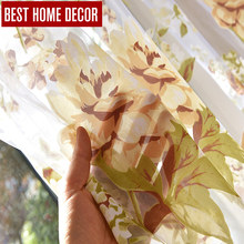 BHD draps floral tulle sheer window curtains for living room the bedroom kitchen modern tulle curtains for window fabric blinds 1 pair of sheer window tulle fabric curtains