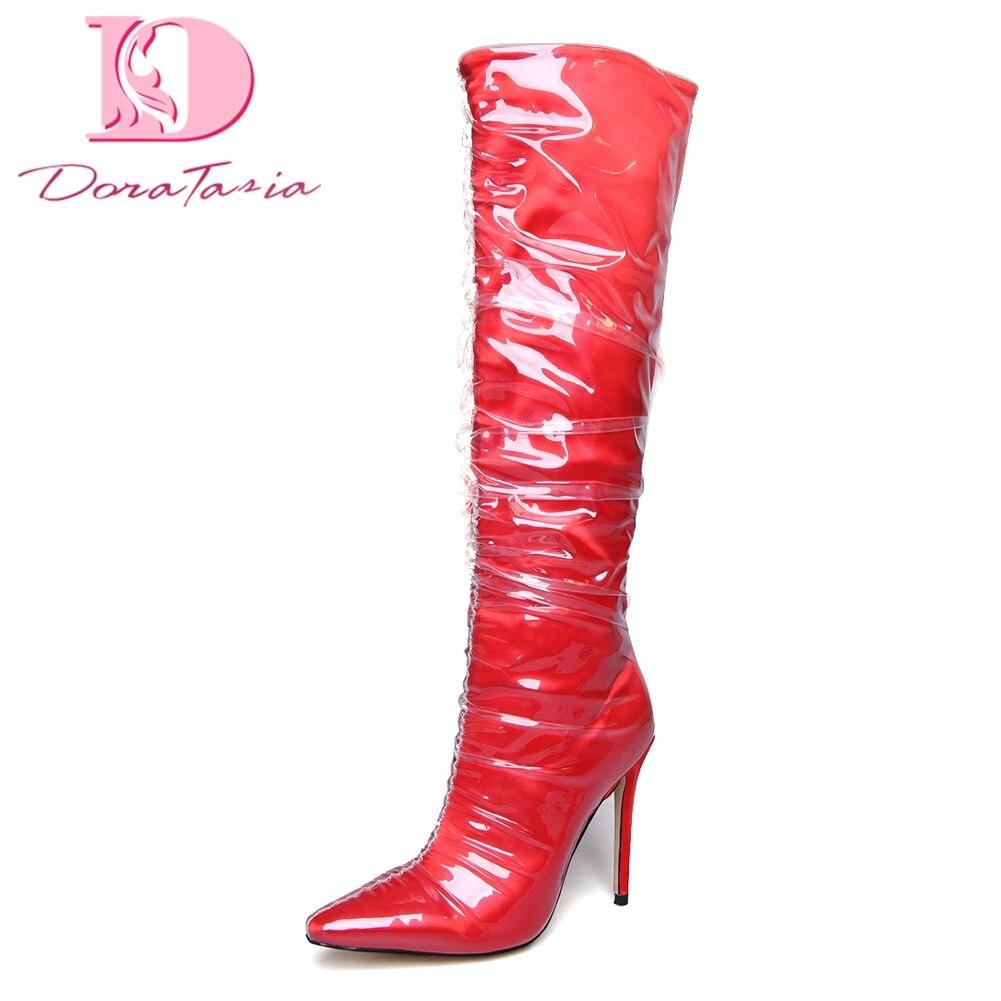 Genou Noir rouge Femme De Tailles 2018 Luxe Femmes Parti Talons Hauteur Grand À 34 Du Chaussures 43 Doratasia Bottes Mince Hauts plaid Marque nP0wOk8