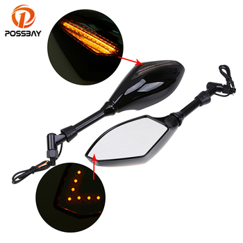 POSSBAY Motorcycle Mirrors View Handle Bar End Rearview Side Mirrors for Ducati Honda Suzuki Kawasaki Yamaha LED Turn Signals