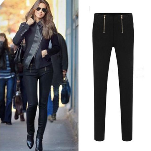 S-3xl mulheres Europen inverno calças de cintura alta calças de trabalho F719