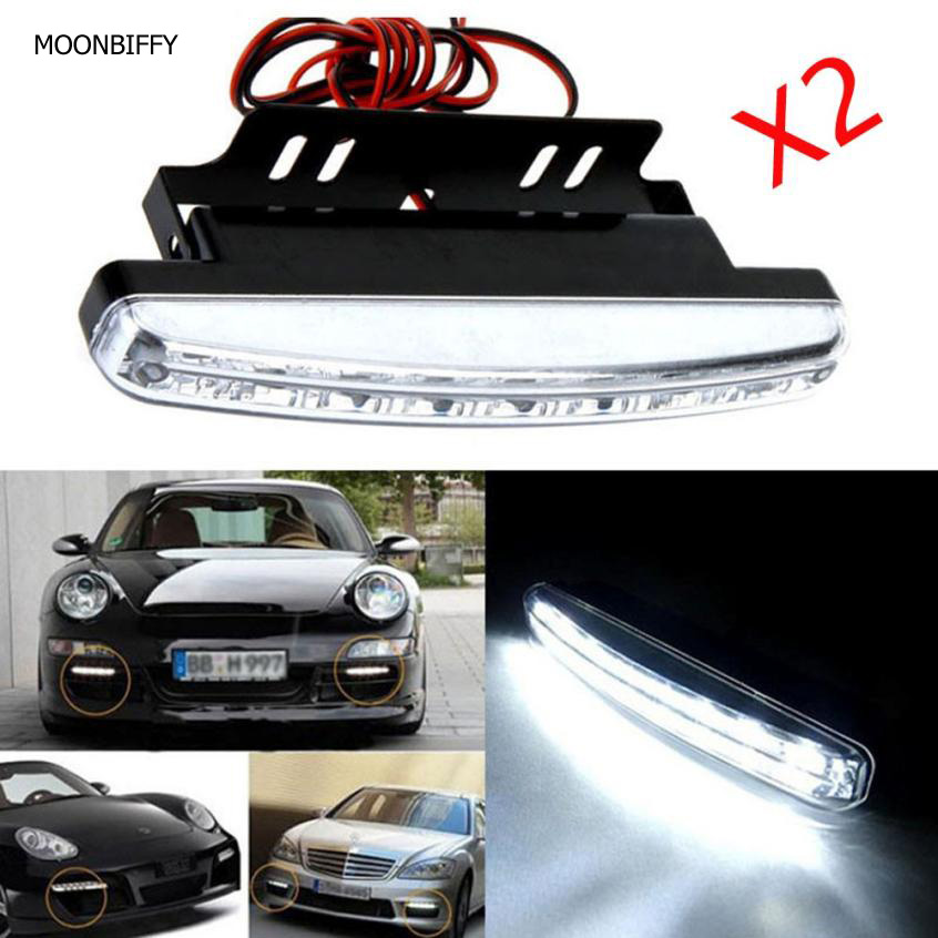 MOONBIFFY 2017 HOT SALE car styling 2pc 8LED Daytime Driving Running Light DRL Car Fog Lamp Waterproof White DC 12V 2017 2pcs new high quality 6 led daytime driving running light drl car fog lamp waterproof white dc 12v hot sale