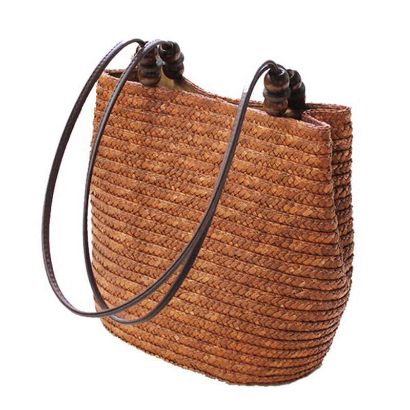 JHD Knitted Straw Bag Summer Bohemia Fashion Women Handbags Stripes Shoulder Bags Beach Bag Big Tote Bags(Brown)