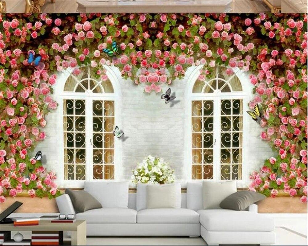 Обои на заказ в европейском стиле с изображением бабочки розы, ТВ фон, декоративная картина маслом, обои для стен 3 d