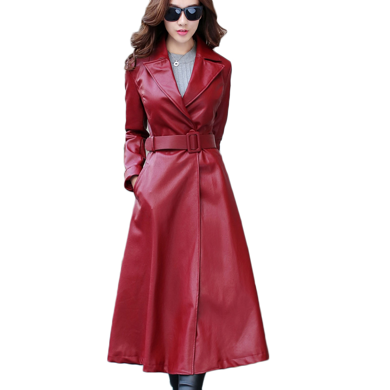 Fashion women's long temperament windbreaker 2019 autumn women's Korean new large size jacket coat female slim pu   leather   jacket