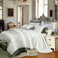 Luxury Satin Jacquard White Bedding set Queen/King size Bed set Fitted sheet Duvet cover Bedsheet parure de lit ropa de cama