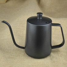 New 600ML Coffee Pot Thickening Stainless Steel Teflon Slender Hand Fine Mouth Pot Hanging Ear Dripping with Cover Free shipping