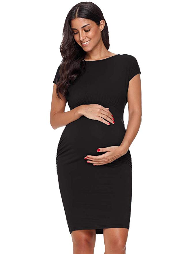 ae3afced50 Aliexpress.com   Buy Pregnant Dress Maternity Clothes Dresses Bodycon  Pregnancy Dress Baby Shower Ruched Sides Short Sleeve Summer Dress 3 colors  from ...