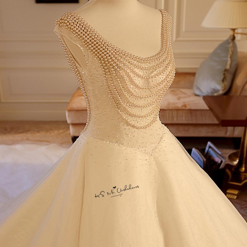 Boda Luxury Pearls Wedding Dresses Chapel Train Lace Bride Dress Backless Wedding Gowns China Abiti Da