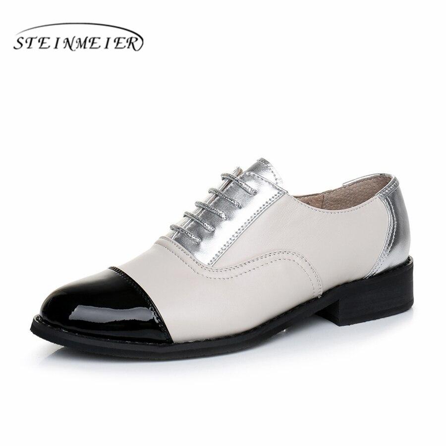 Cow leather big woman US size 11 designer vintage flat shoes fringe handmade black beige silver