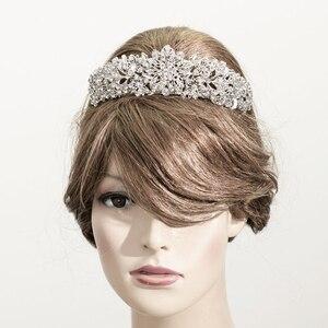 Image 5 - Alta qualidade cristal nobre flor nupcial tiara coroa headbands casamento jóias acessórios para o cabelo feminino frete grátis 4714