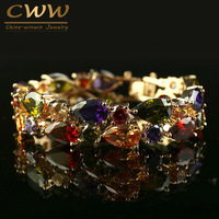 Free Shipping 18K Gold Plated My Mona Lisa Multicolor CZ Stones Cluster Bracelet CB017