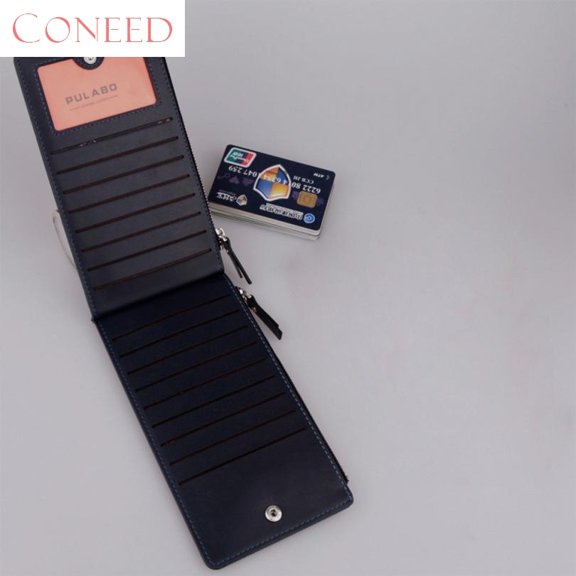 CONEED Charming Nice Best Gift Men Leather Card Cash Receipt Holder Ultra-Thin Zipper Wallet Purse Wholesale Sep19 ...