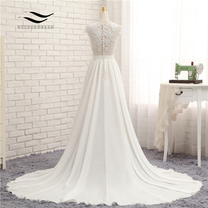 Image 3 - Sexy V neck  Chapel Train Long Zipper Cap Sleeves Lace Applique A Line Beach Wedding Dress Real Photo Wedding Gown SLD W592