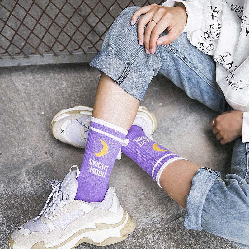 Women Moon Letter Socks Stripe Elastic Harajuku Streetwear Casual Crew Socks
