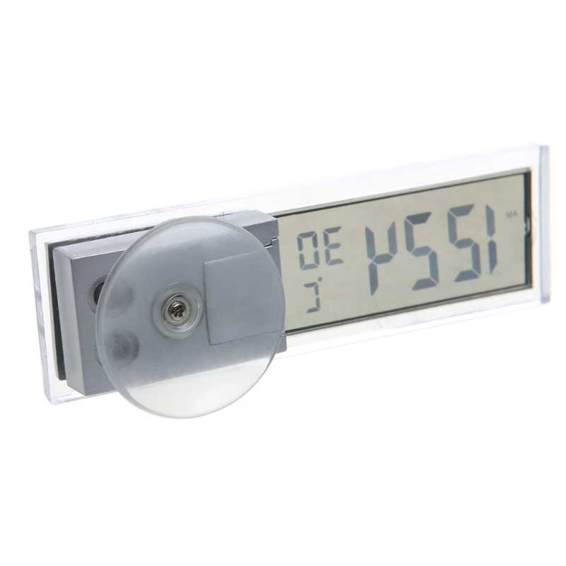 Мини 2 в 1 ЖК-дисплей Цифровой Авто Грузовик часы + термометр w/присоске кнопки сотового 90x27x15 мм #20/22 Вт