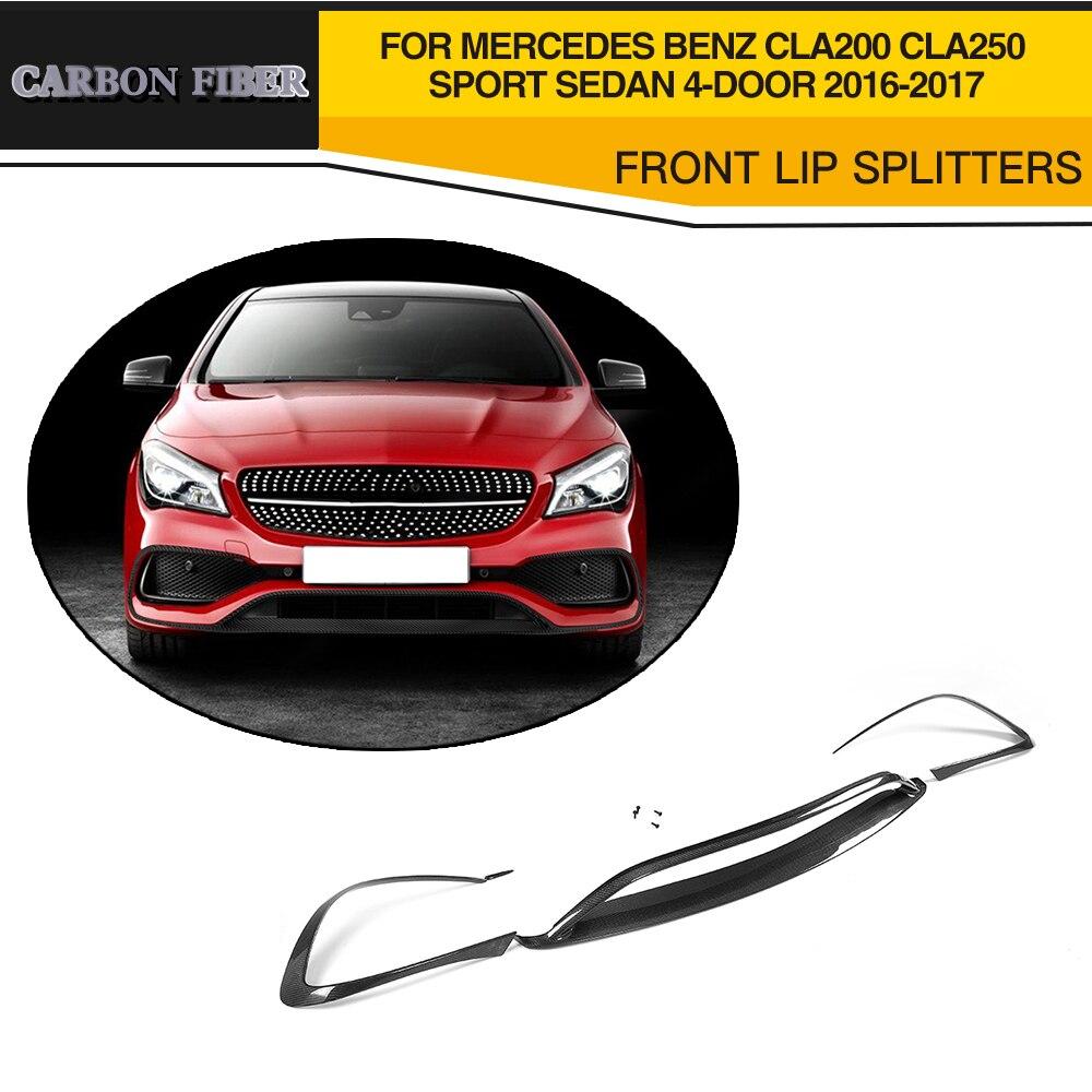 Carbon fiber Car Front Bumper Lip Protector for Mercedes-Benz CLA Class C117 CLA200 CLA250 Sport Sedan 4 Door 2016-2017