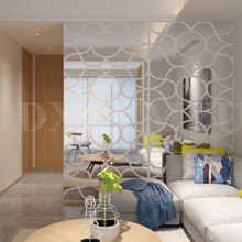 Large Wave ripple pattern acrylic 3D mirror stickers living room bedroom porch Wall Decor Home decoration wall