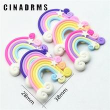 12 STÜCKE Gleichmäßig GEMISCHT 28mm X 38mm Tiny Gebacken Rainbow Star Wolken Polymer Clay DIY Verschönerung Scrapbooking Handwerk