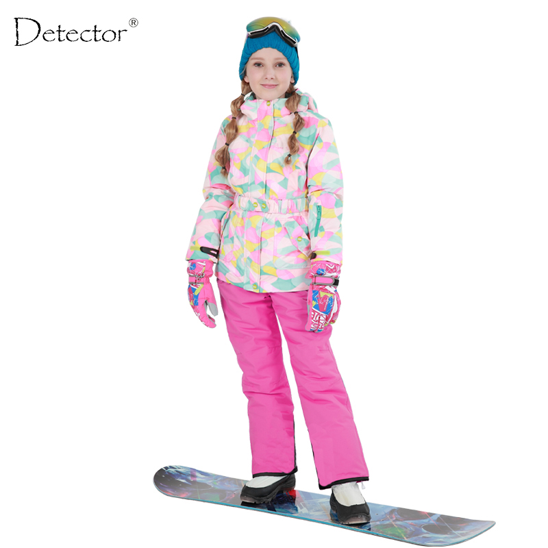 Detector Girls Ski Set Outdoor Waterproof Windproof Winter Ski Jacket Children Warm Skiing Suit detector girls ski set children waterproof windproof clothing kids ski set winter warm snowboard outdoor girl ski jacket