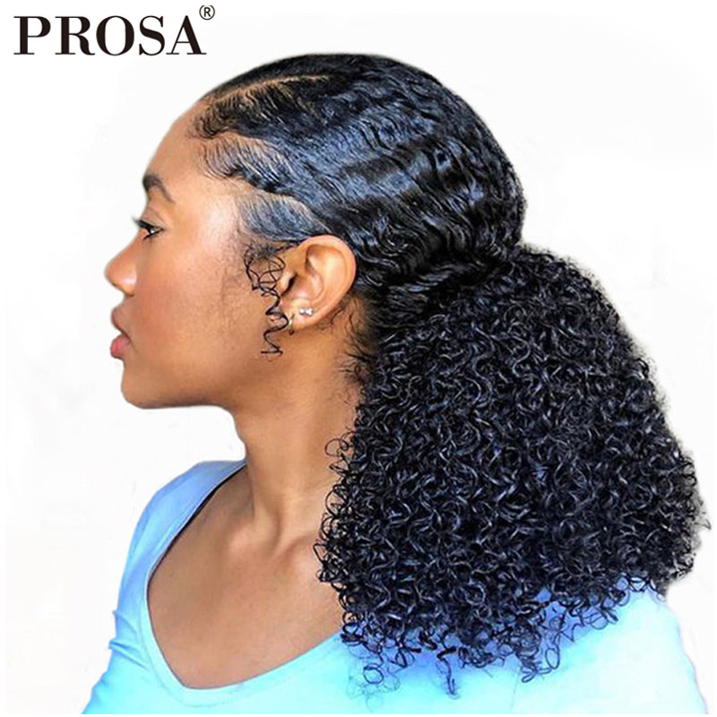 Prosa Hair-Products Ponytails-Clip Human-Hair-Extensions Virgin-Hair Curly Clip-In Kinky