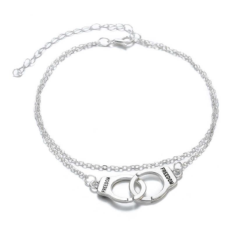 ホット販売ヴィンテージシルバーカラー手錠女性ボヘミアン自由足首のブレスレット多層 Footchain 宝石類のギフト