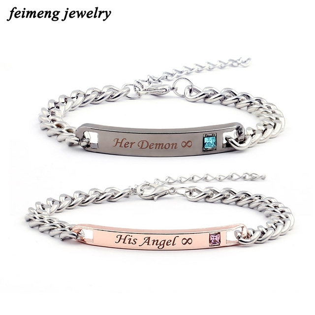 Sweet And His Angel Her Demon Infinite Love Bracelets Men Promise Jewelry Christmas