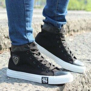 Image 5 - Мужские высокие кроссовки, повседневная холщовая обувь, дышащие, на шнуровке, эспадрильи, плоская подошва, белые