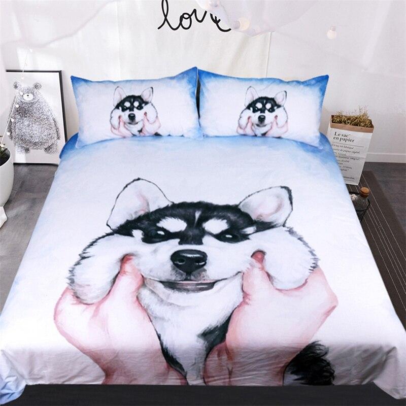 Hiver maison textile dessin animé Husky chien literie trois set taie d'oreiller roi reine taille enfants couette couette sans linge de lit doux