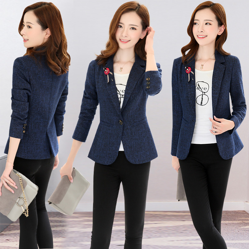 J67600 Spring Autumn Short Jacket Women's Suit Korean Version Slim Blazer Small Fashion Suit Outwear Coat