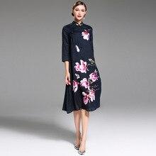 2018 новые весенние элегантные винтажные florall женские туфли с вышивкой платье в китайском стиле Свободные повседневные плюс размер платье Vestido миди