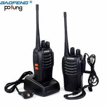 2 unids baofeng bf-888s walkie talkie portátil radio bf888s 16ch transmisor-receptor de uhf 400-470 mhz 888 s comunicador + 2 auricular