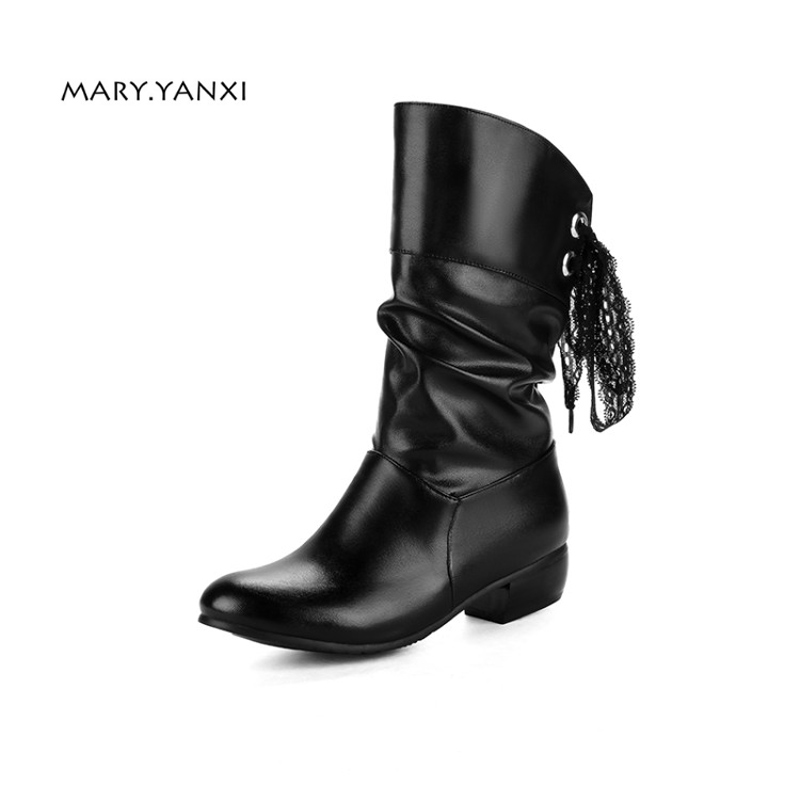 Women Lace Up Boots Winter Shoes Woman Fur Warm Boots Fashion Square High Heels Ankle Boots Black White Red Boots bzbfsky fashion 2018 lace up wedges platform casual shoes woman patchwork womens winter spring black white red ankle women boots