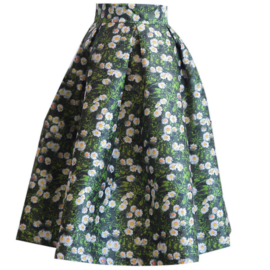 2019 dames Jacquard fleur imprimer robe de bal plissée genou-longueur jupes femmes Vintage Floral taille haute