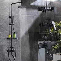 Newly Wholesale And Retail Bathroom Shower Faucet Titanium Black Brass Wall Mounted W Hand Shower Set
