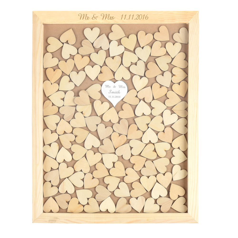 personalized rustic drop top wooden wedding guest book frame with one mirror hearts 130 pcs