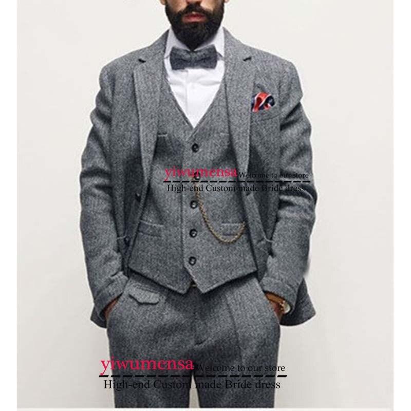 Y522 의상 mariage 옴므 남성 정장 웨딩 사용자 정의 만든 회색 턱시도 traje boda hombre 블루 정장 3 조각 정장 mens-에서정장부터 남성 의류 의  그룹 1