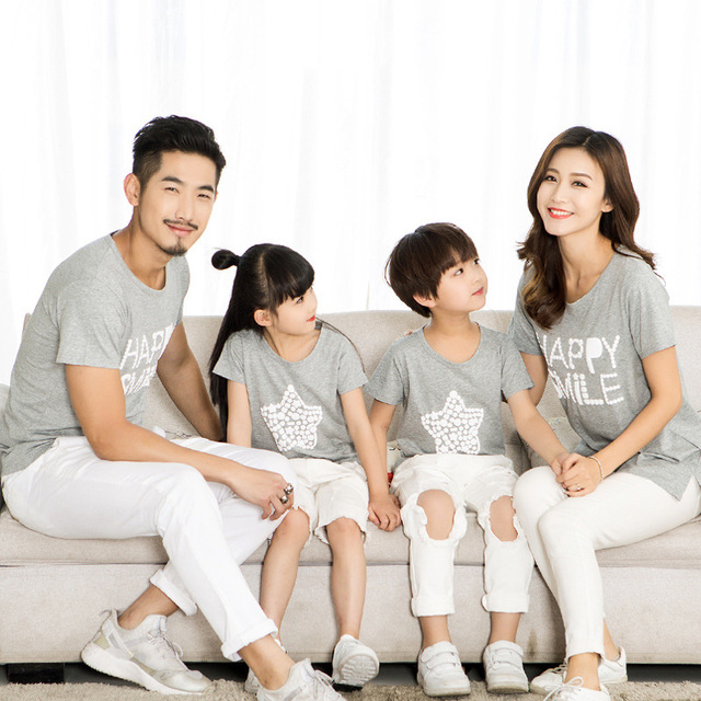 be84d467 ChanJoyCC Family Matching Outfits T-shirt Summer New Mom Dad Baby Boy Girl  Print Letter Star Short Sleeve T-shirt Kid Cotton100%