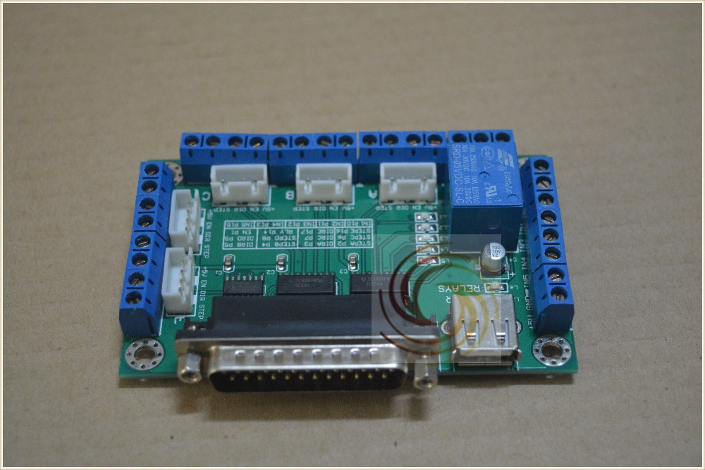 Mach3 5 Axis Cnc Breakout Board Interface Board For Stepper Motor Driver With One Usb Cable 5 Axles Driver Board 1pcs